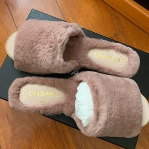 Chanel fur slides flats shoes